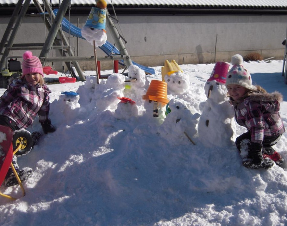 Snowmen in our garden